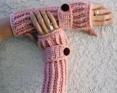 Petal pink arm warmers, fingerless gloves, texting gloves, crochet gloves, boho gloves, hand warmers, mittens, boho fashion, button gloves