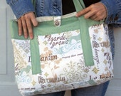 Large summer beach tote bag/ shoulder bag in garden theme