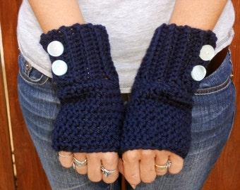 Crochet navy blue button arm warmers, wrist warmers, fingerless gloves, mittens, winter gloves, hand warmers, crochet gloves, blue gloves