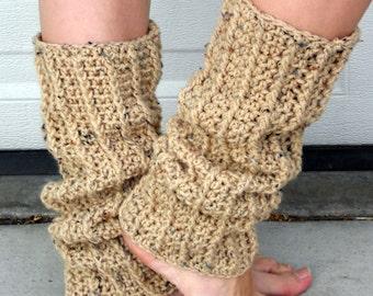Speckled oat, leg warmers, crochet leg warmers, dance leg warmers, crochet fashion, beige leg warmers, boot cuffs, winter apparel, clothing