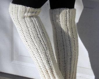 Crochet dance trendy leg warmers in soft butter cream