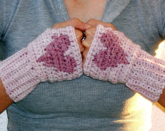 Soft pink heart crochet wrist warmers, arm warmers fingerless gloves, mittens