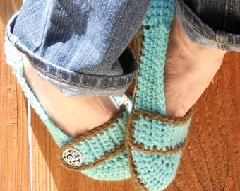 Aqua breeze slippers, womens slippers, crochet slippers, booties, shoes, socks, winter fashion, button slippers, crochet booties, warm shoes