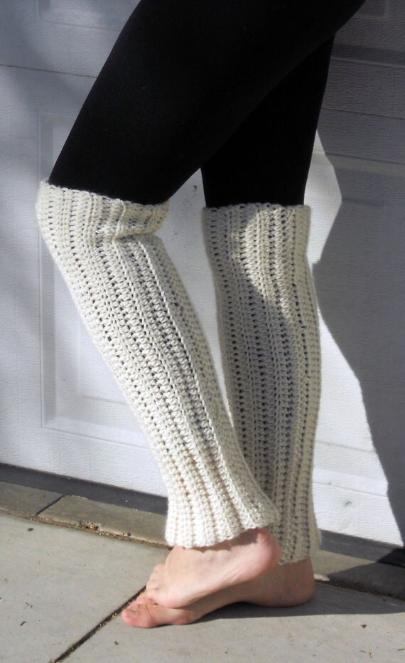 Crochet dance trendy leg warmers in soft butter cream