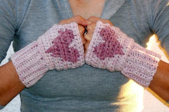 Soft pink heart hand warmers, rave gloves, fingerless gloves, arm warmers, texting gloves, crochet gloves, wrist warmers, mittens