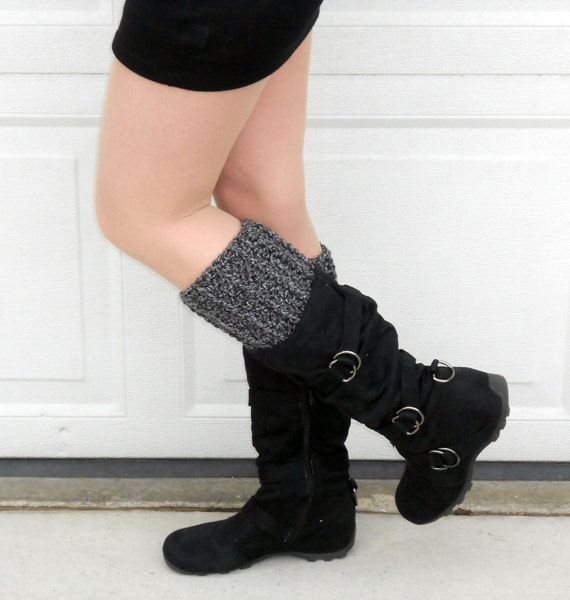 crochet boot cuffs in asphalt, leg warmers