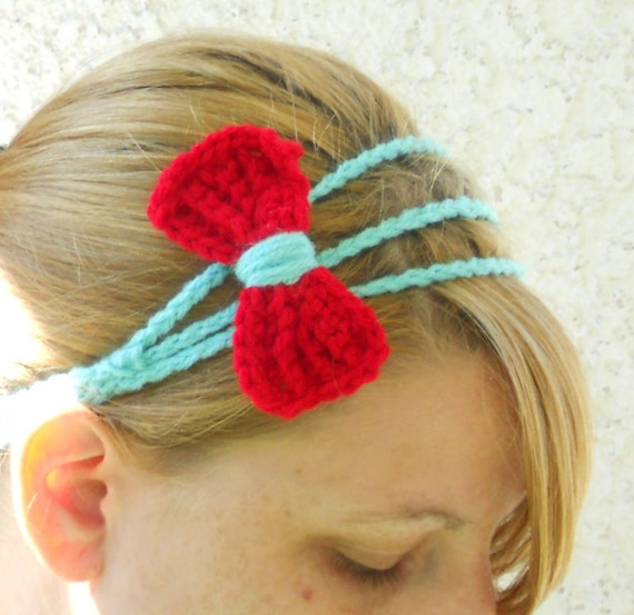 Three strand aqua and red bow tie crochet headband