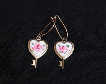 Heart key vintage earrings