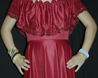 Vintage burgundy full length off the shoulder gown