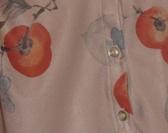 Vintage sheer blouse with birds and apples
