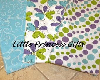 Set of 3 Aqua, Purple and Lime Green Burp Cloths