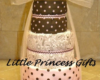 Baby Girls 3 tier diaper cake in Pink and Brown