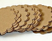 Kraft scalloped circles 2inch embellishments die cut scrapbooking tags labels 2 1/2 dozen