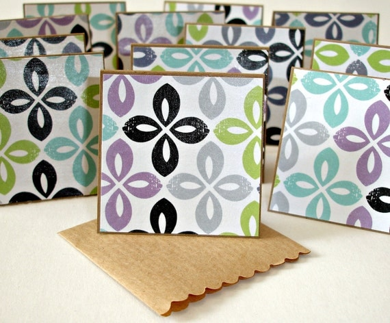Mini card set, blank note cards, tags in Simplified Medallions design, 1 Dozen mini cards - glossy finish