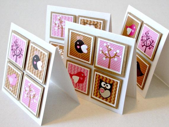 Handmade mini greeting cards Pink owl love mini card set with envelopes Set of 4