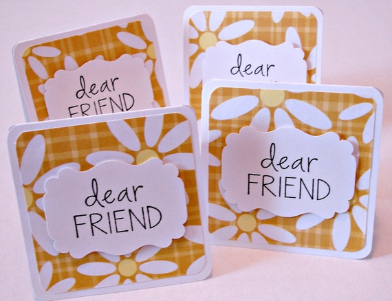 Friendship mini greeting cards Dear friend handmade mini cards Set of 4 with envelopes Gift notes Just because mini cards