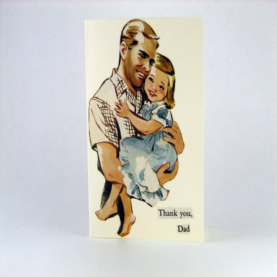 Father's Day Card Vintage Illustration with Blank Inside