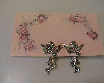 Vintage angel pierced earrings