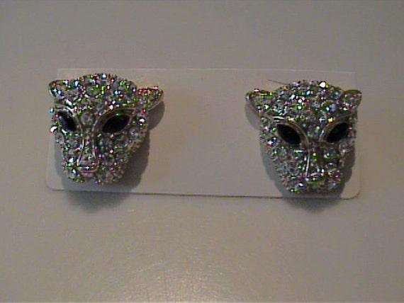 Vintage rhinestone stud panther earrings