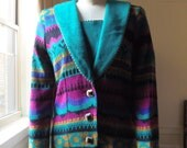 80s Navajo Style Print Cardigan Sweater