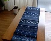 Vintage Indigo Patchwork Table Runner - Short Length
