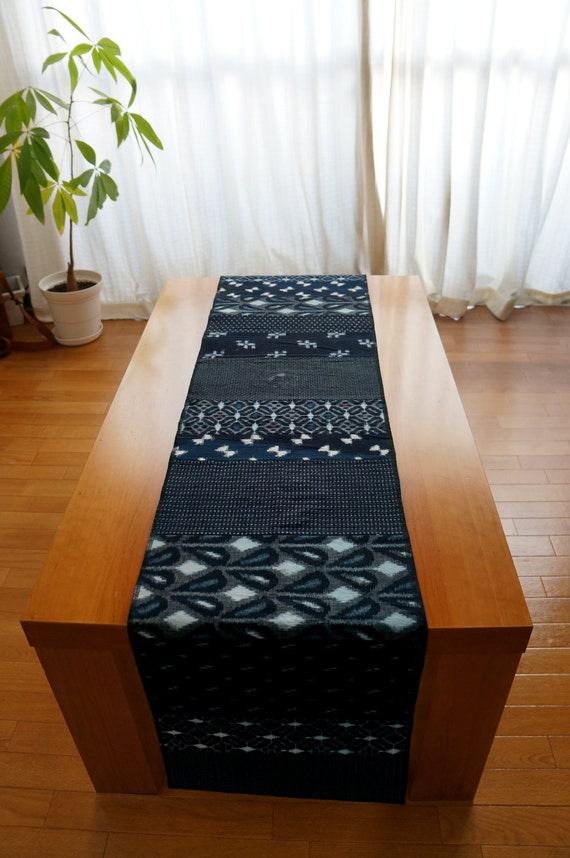 Vintage Indigo Patchwork Table Runner