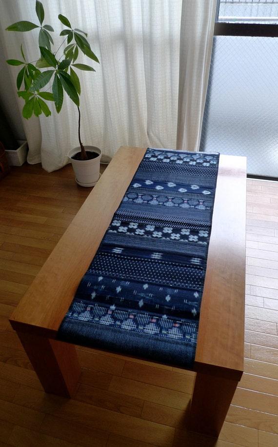 Vintage indigo patchwork table runner short length for 12 foot table runner
