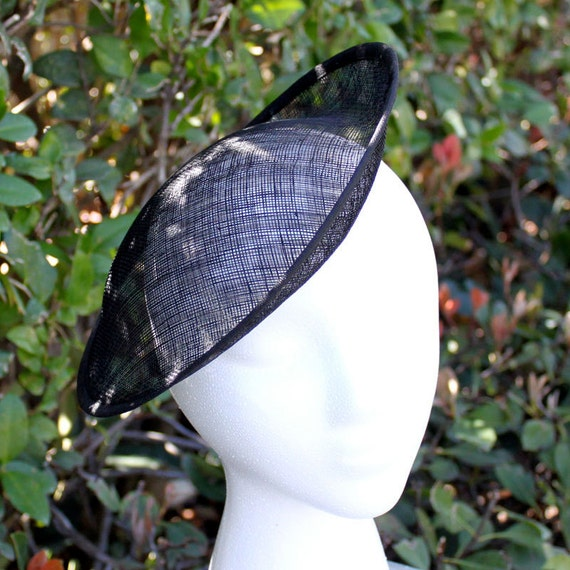 Med Saucer Hat Base, sinamay hat form, black vintage style millinery supply DIY cocktail hat fascinator church hat