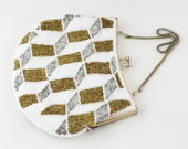 1950's White Gold And Silver Beaded Bag