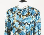 1970s floral tea dress in teal and chocolate medium