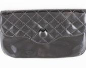 Janette Tina Vintage Black Patent Clutch Bag