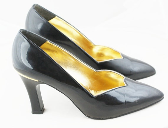 Lotus Black Patent And Gold Vintage Court Shoes