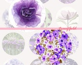 1 inch Digital Bottle Cap Violet Flower, Nature Photo Cameo Print Collage Work,  25mm or 1 inch Graphic For Jewelry Making