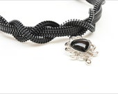 Women's jewelry photography, Gothic zipper necklace in black and white.