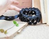 2 Wedding Ruffle cuff bracelets,  zipper design, plastic zipper cuff with ribbon, handmade jewelry.