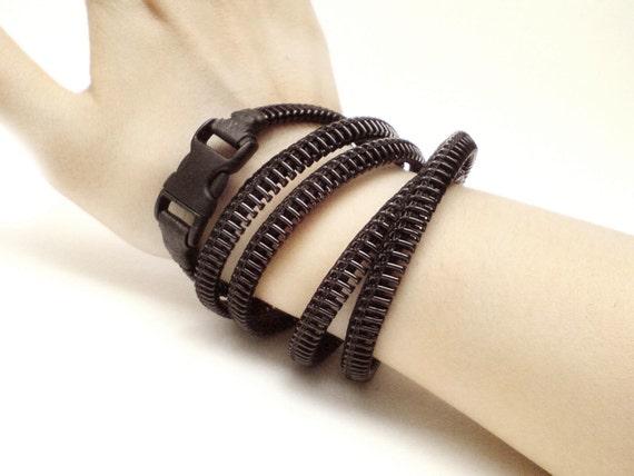 2 Blank bracelets, Specialty Sizes, zipper jewelry, handmade bracelet in black.