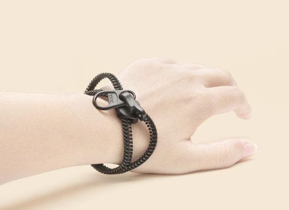 Men bracelets, women bracelet,  black zipper jewelry, steampunk style wristband, industrial zipper, unique black gift.