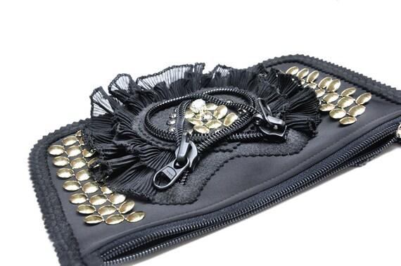 Zipper Pouch with bead tassel, Saddle Black clutch, medium phone case purse.