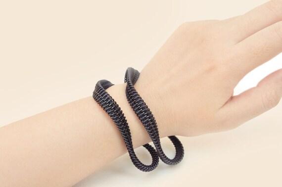 Men's bracelet, 3 set of minimalist zipper jewelry, ready to ship.