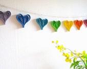 Rainbow Paper Hearts Garland - Handmade