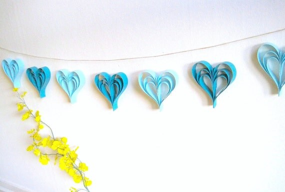Blue Paper Hearts Garland Bunting- Weddings, Kids Birthday, Baby Shower, Party Decoration, Photo Booth Prop, Boys' Room decor (Handmade)