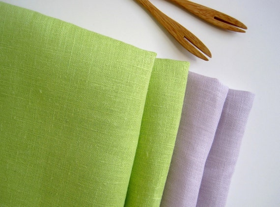 Purple and Green Linen Napkins set of 4, natural linen table linens, summer weddings gift, lavender dinner napkins