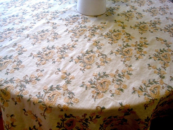 Embroidered Tablecloth -  paisley table cloth, table linens for rustic weddings, french country chic, shabby chic, mothers day, handmade