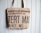 Recycled Canvas Grain Sack Tote Bag