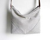 Ticking Stripe Cross Body Hobo Bag