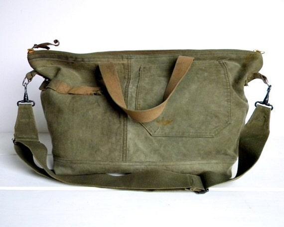 Recycled WWII Canvas Weekender Tote Bag
