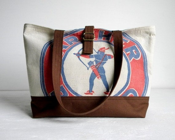Recycled Seed Sack Tote Bag