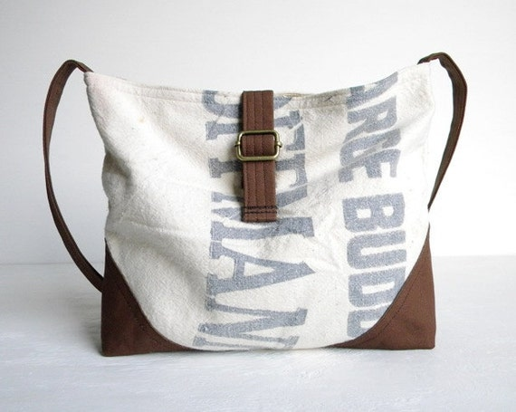 Recycled Grain Sack Slouch Cross Body Bag