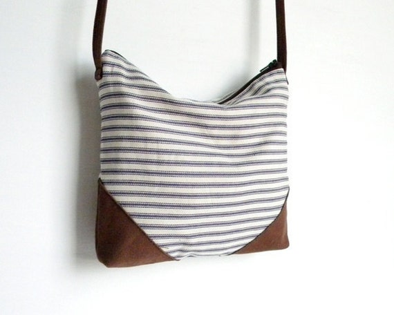 RESERVED LISTING Small Ticking Stripe Cross Body Purse
