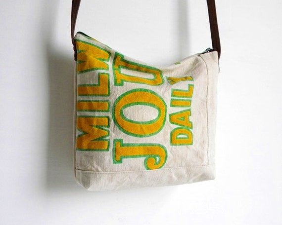 Recycled Newspaper Bag Small Messenger